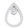 0.12 Ct JK I1 Timeless Real Double Teardrop Encrusted Pendant With White Diamonds And A Beautiful Diamond Center Display in 10 kt Gold