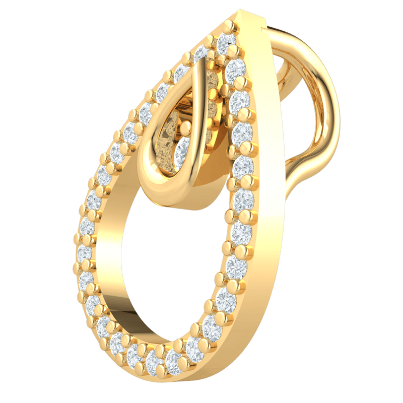 Timeless Real Double Teardrop Encrusted Pendant With White Diamonds And A Beautiful Diamond Center Display 0.12 Ct GH I1 and 14 kt Gold