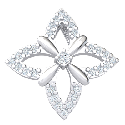 Gorgeously Designed Real Pendant Covered In White Diamonds With A Sparkling Diamond Center Display 0.14 Ct JK I1 and 10 kt Gold
