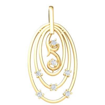 0.11 Ctw Beautifully Made 3 Ring Real Oval Pendant Bejeweled With Serveral White Diamonds in JK I1 10 kt Gold