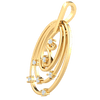 0.11 Ct IJ SI2 Beautifully Made 3 Ring Real Oval Pendant Bejeweled With Serveral White Diamonds in 14 kt Gold
