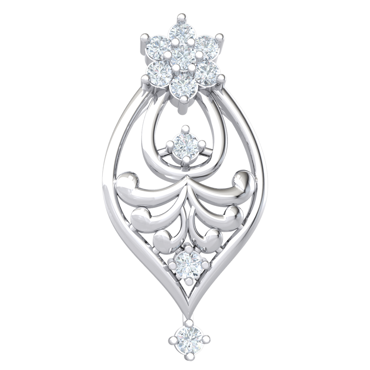 Dazzling 7 Stone White Diamond Pendant Set On A Charming Array Of Real And Diamonds 0.15 Ct IJ SI2 and 14 kt Gold