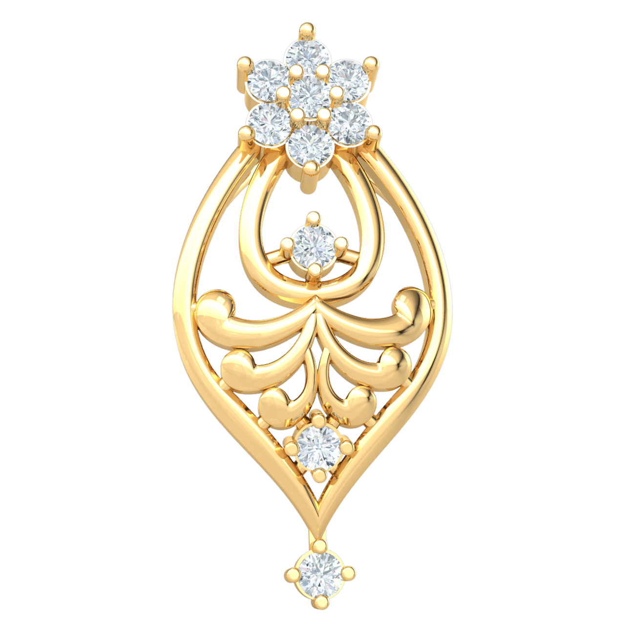 0.15 Ct JK I1 Dazzling 7 Stone White Diamond Pendant Set On A Charming Array Of Real And Diamonds in 10 kt Gold