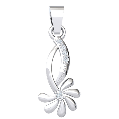 Artistic And Fun Real Flower Pendant With White Diamonds In The Center And Stem 0.06 Ct JK I1 and 10 kt Gold