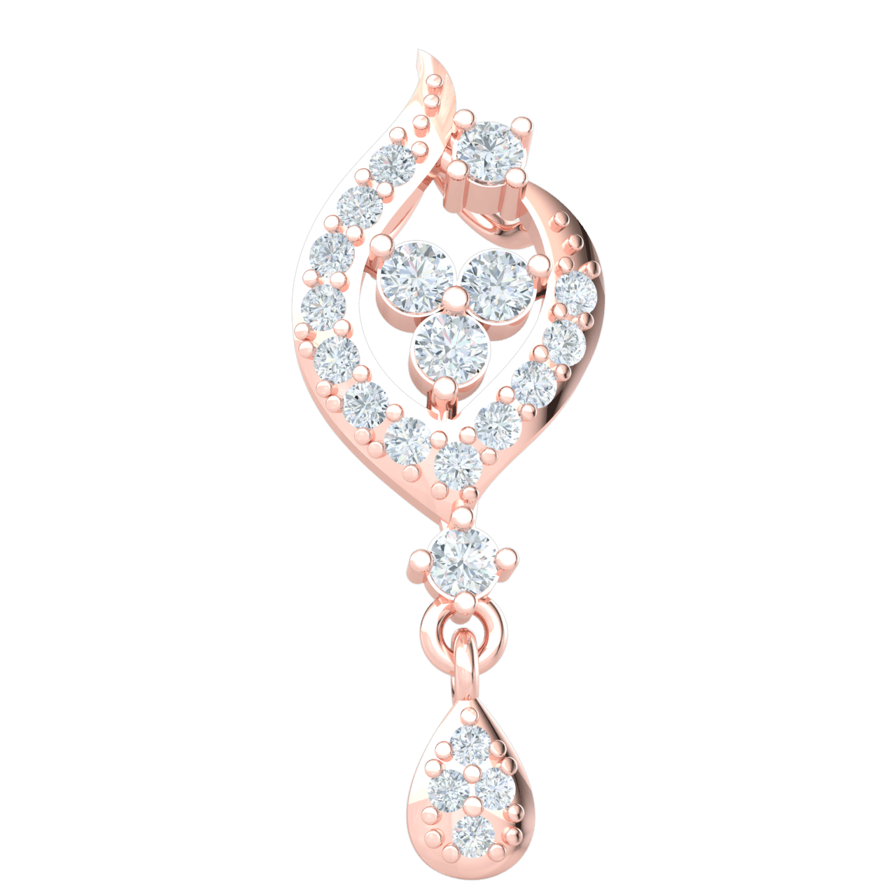 0.25 Ctw Exquisite Real Teardrop Pendant Embedded With Beautiful White Diamonds in IJ SI2 14 kt Gold
