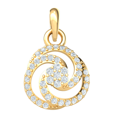 0.32 Ct IJ SI2 Artistic Yet Classic Real Swirling Pendant Encrusted With Sparkling White Diamonds in 14 kt Gold