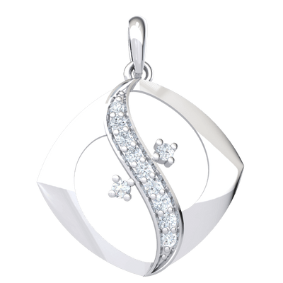 0.20 Ct IJ SI2 Elegant Square Shaped Real Pendant With White Diamond Swan Neck Design in 14 kt Gold