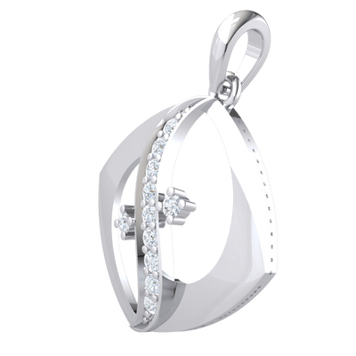 0.20 Ctw Elegant Square Shaped Real Pendant With White Diamond Swan Neck Design in JK I1 10 kt Gold