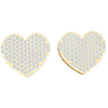 0.18 Ctw Perfect In Every Way Heart Shaped Real Stud Earrings Covered In Beautiful White Diamonds in JK I1 10 kt Gold