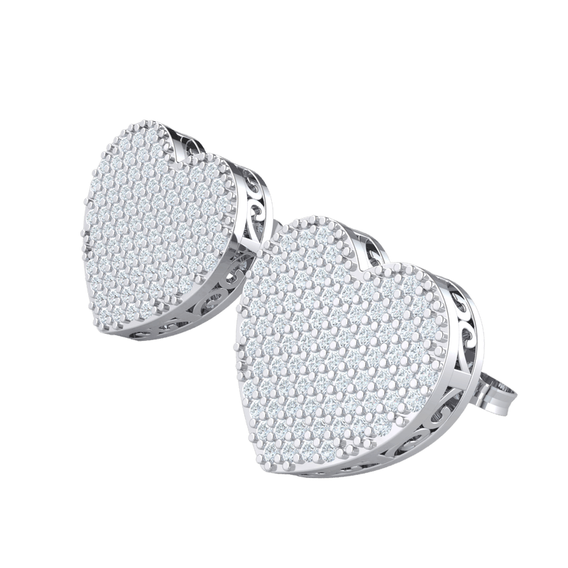 0.18 Ct GH I1 Perfect In Every Way Heart Shaped Real Stud Earrings Covered In Beautiful White Diamonds in 14 kt Gold