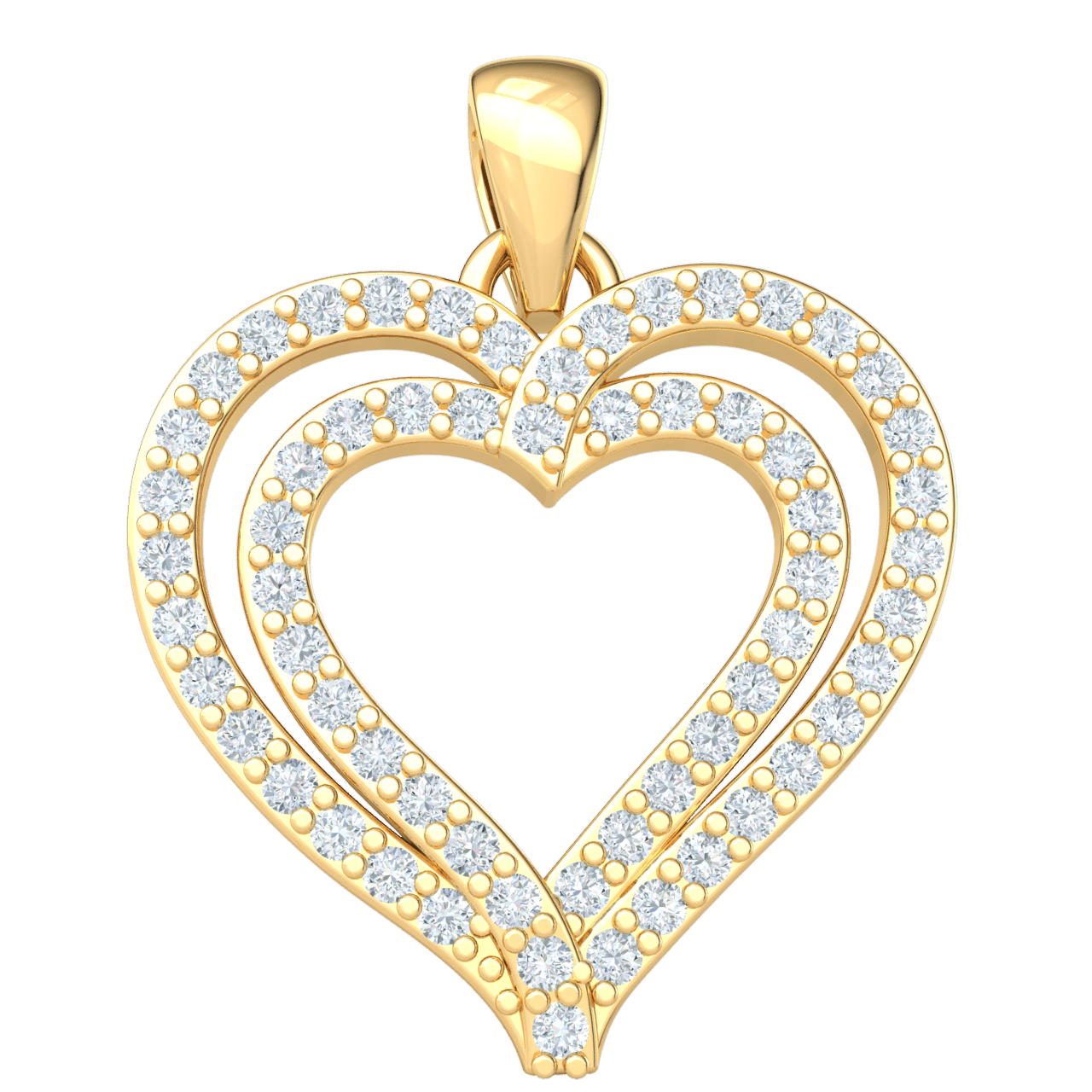 0.27 Ctw Absolutely Stunning Real Double Heart Shaped Pendant Covered in White Diamonds in JK I1 10 kt Gold