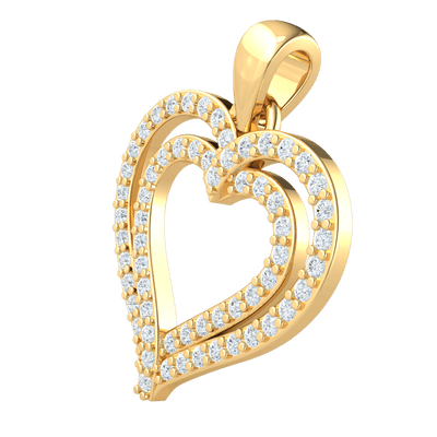 0.27 Ct GH I1 Absolutely Stunning Real Double Heart Shaped Pendant Covered in White Diamonds in 14 kt Gold