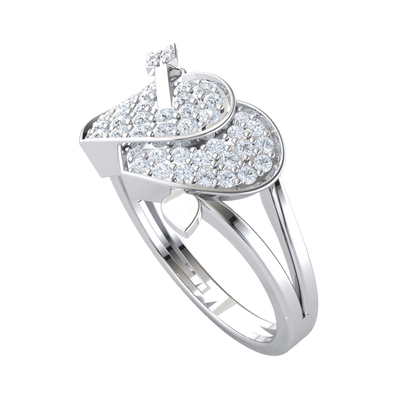 0.52 Ctw Perfectly Paired Real Hearts Filled With Rows Of White Diamonds And A Arrow Locking Them Together in KL I2 .925 Sterling Silver