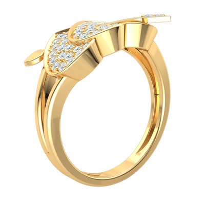 0.52 Ctw Perfectly Paired Real Hearts Filled With Rows Of White Diamonds And A Arrow Locking Them Together in GH I1 14 kt Gold