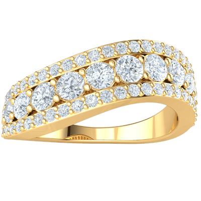 1.25 Ct GH I1-I2 3 Gorgeous Rows Of White Diamonds With A Radiant Larger Middle Row Set In A Real Band in 10 kt Gold