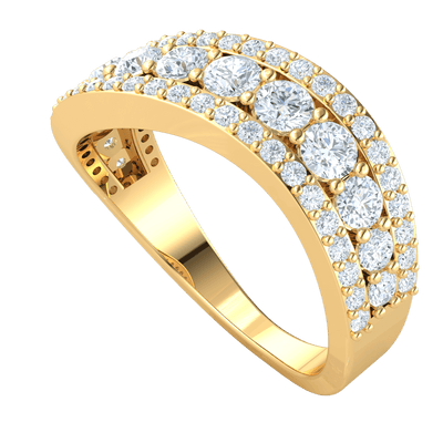 3 Gorgeous Rows Of White Diamonds With A Radiant Larger Middle Row Set In A Real Band 1.25 Ct IJ SI2 and 14 kt Gold