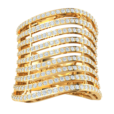1.12 Ctw Breathe Taking Rows Of Sparkling White Diamonds Set In A Real Band in JK I1 10 kt Gold