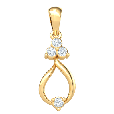 Charming Teardrop Shape Pendant With Beautiful White Diamond Hanging From 3 Stunning Diamonds 0.10 Ct IJ SI2 and 14 kt Gold