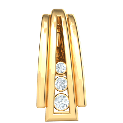 0.03 Ctw Stunning 3 Row Real Waterfall Pendant With Beautifully Increasing Size White Diamonds in IJ SI2 14 kt Gold