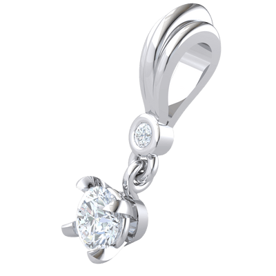 0.29 Ct GH I1 Timeless Real Pendant Holding A Beautiful White Diamond Treasure With A Brillant Solitare Below in 14 kt Gold