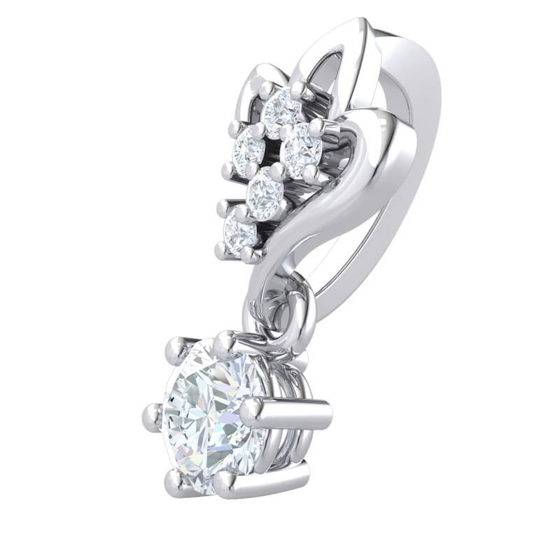 Beautiful 3 Leaf Flower Pendant Encompassing 5 White Diamonds With Absolutely Stunning Solitare Base 0.32 Ct IJ SI2 and 14 kt Gold