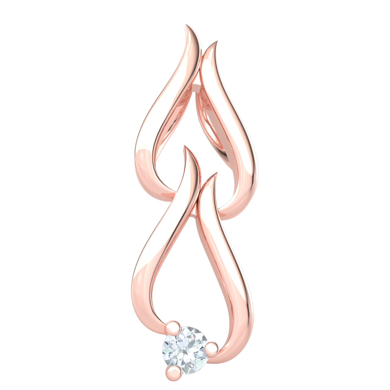 Wonderfully Charming Real Double Teardrop Pendant With Solitare White Diamond 0.04 Ct GH I1-I2 and 10 kt Gold