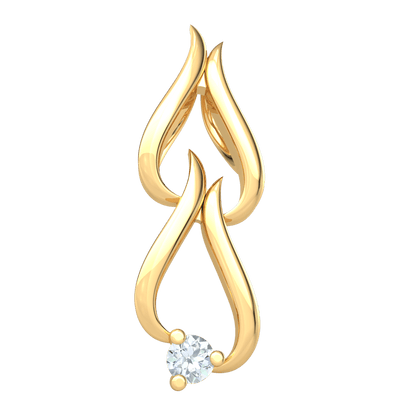 0.04 Ctw Wonderfully Charming Real Double Teardrop Pendant With Solitare White Diamond in IJ SI2 14 kt Gold
