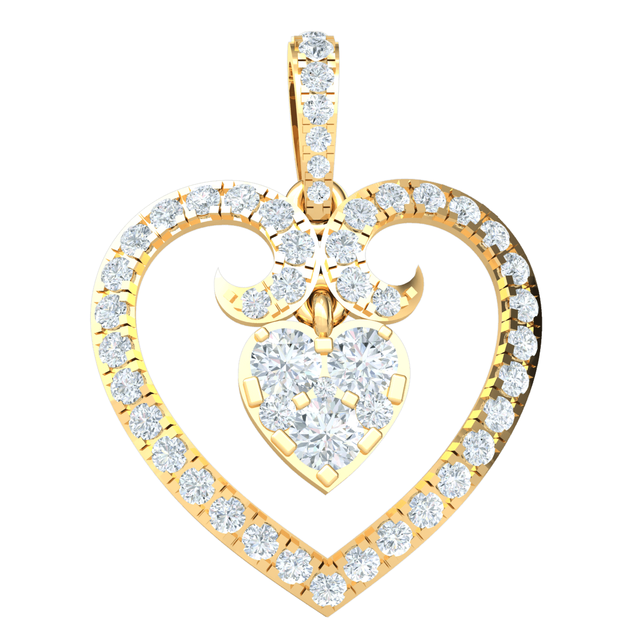0.82 Ct IJ SI2 Dazzeling Heart Shaped Real Pendant Covered In Exquisite White Diamonds With Diamond Covered Heart Hanging Inside in 14 kt Gold