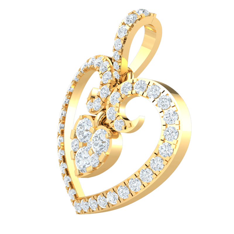 0.82 Ctw Dazzeling Heart Shaped Real Pendant Covered In Exquisite White Diamonds With Diamond Covered Heart Hanging Inside in GH I1-I2 10 kt Gold