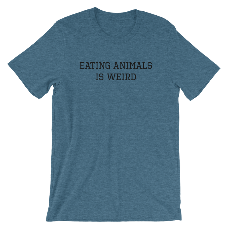 Eating Animals Is Weird - Black Print - Unisex Vegan T-Shirt