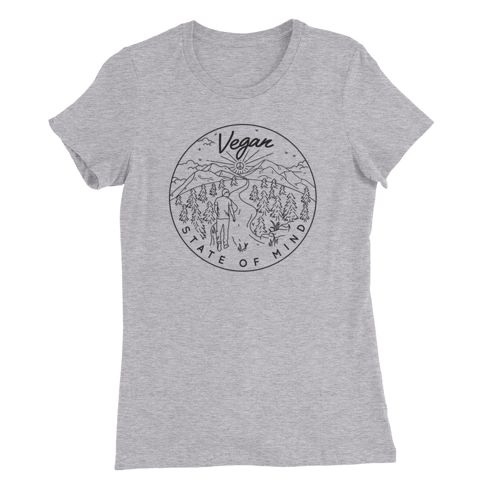 Vegan State of Mind - Black Print - Women's Slim Fit Vegan T-Shirt