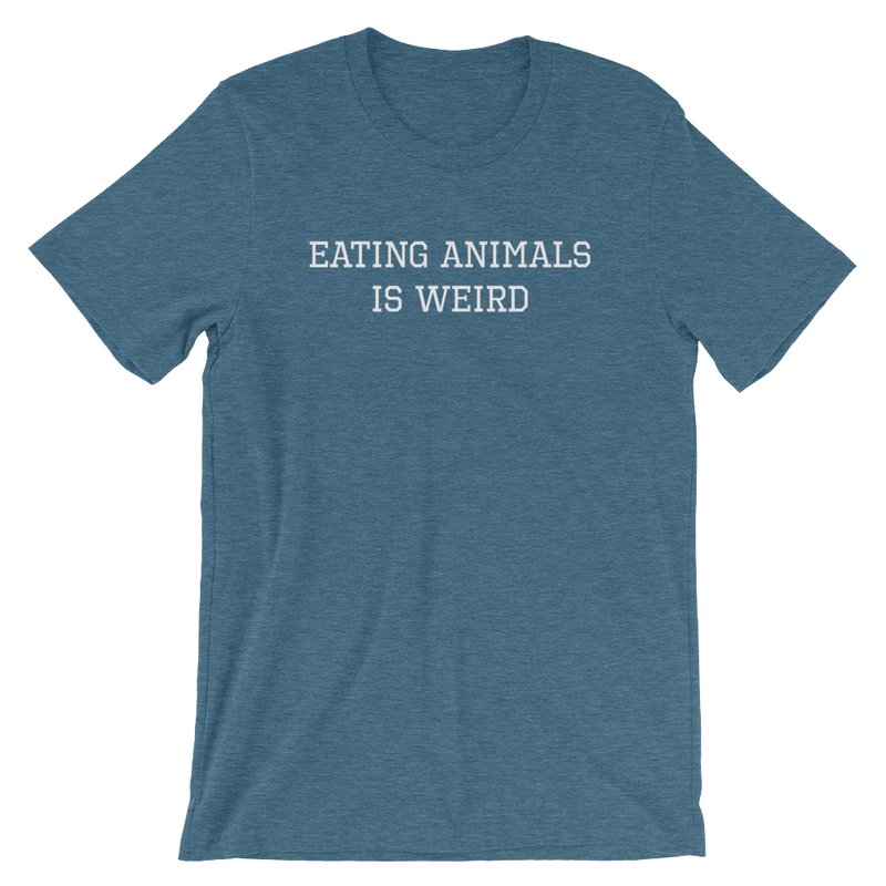 Eating Animals Is Weird - White Print - Unisex Vegan T-Shirt