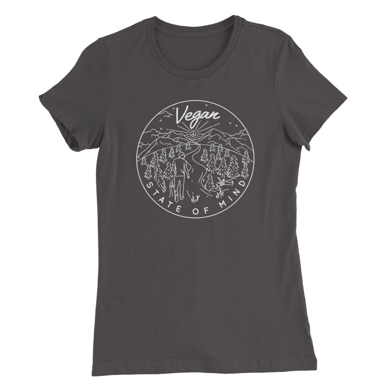 Vegan State of Mind - White Print - Women's Slim Fit Vegan T-Shirt