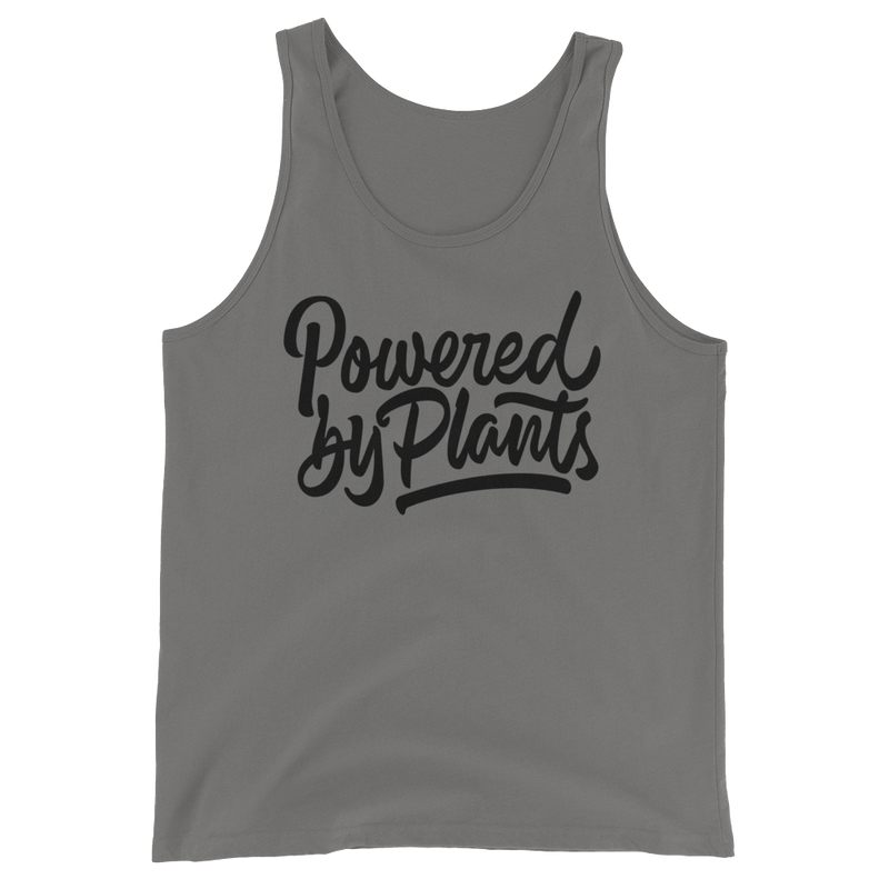 Powered By Plants - Black Print - Unisex Vegan Tank Top