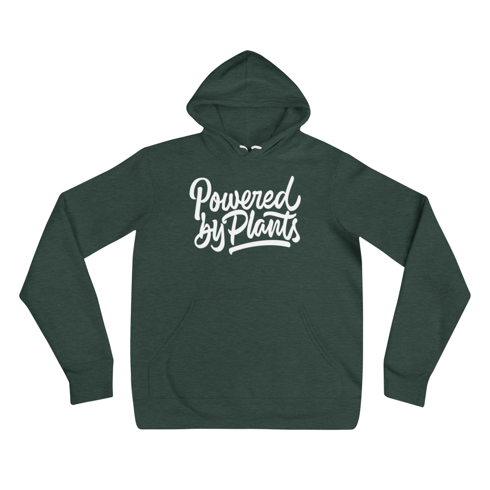 Powered By Plants - White Print - Unisex Vegan Hoodie