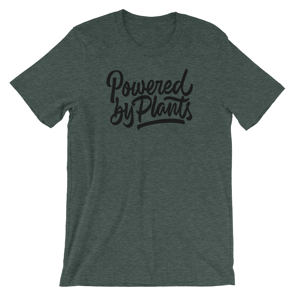 Powered by Plants - Black Print - Unisex Vegan T-Shirt