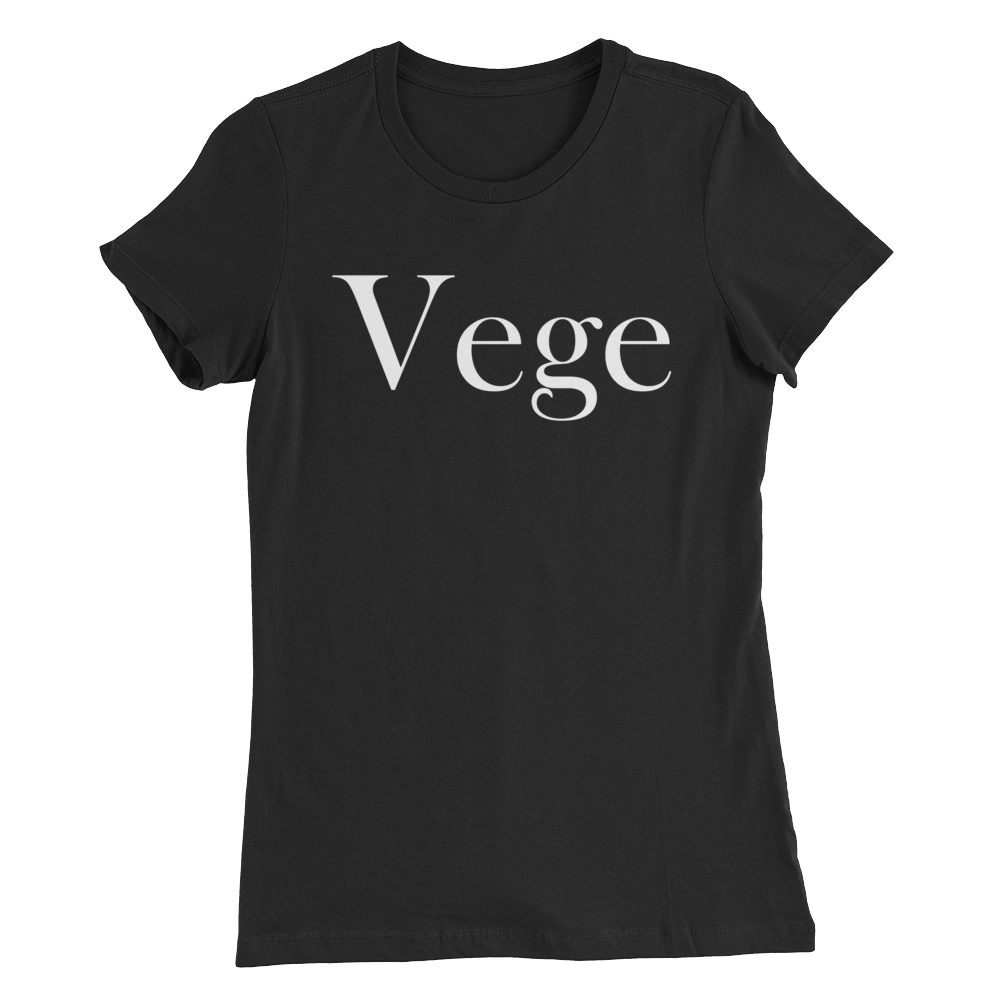 Vege - White Print - Women's Slim Vegan Fit T-Shirt