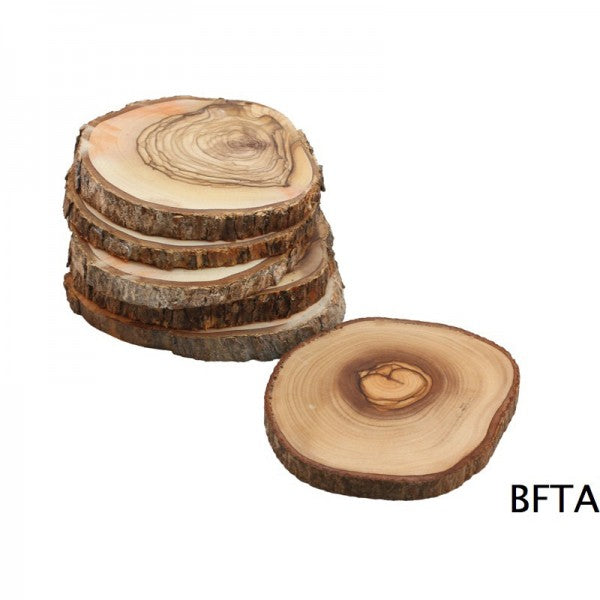 Olive Wood Natural Bark Coasters – Set of 6