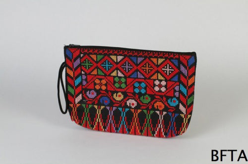 Embroidered Purse for Make Up – Black and Red
