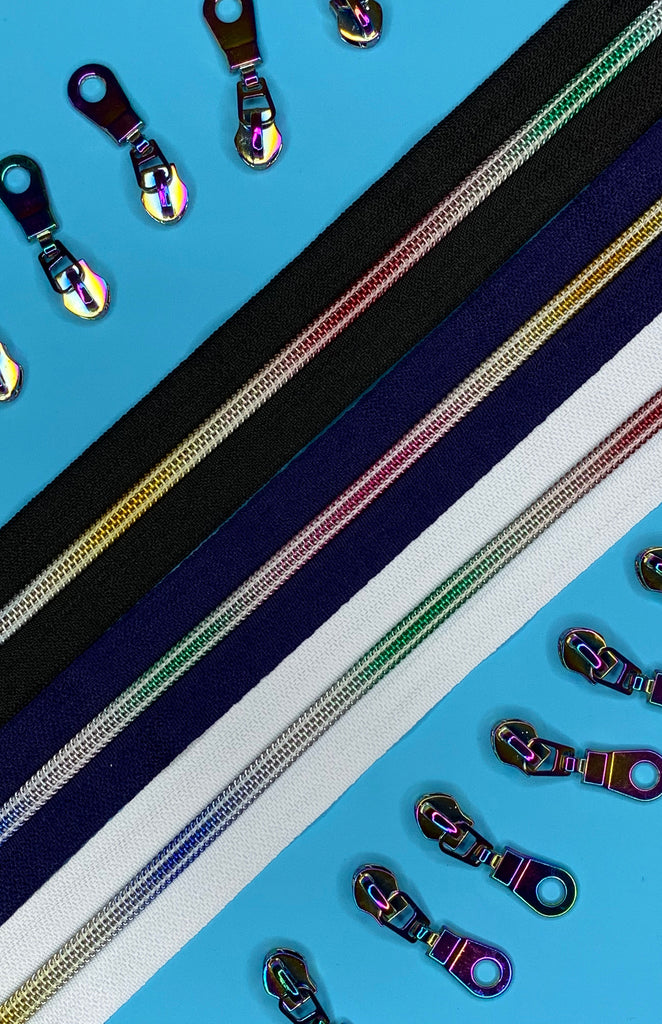 Iridescent Faux Metal Zippers