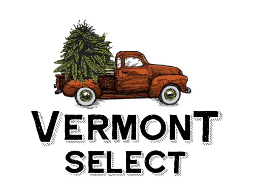 Vermont Select logo, a vintage red truck with hemp in the back