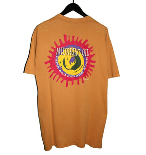 Midnight Oil 1993 Earth and Sun and Moon All Over Print Shirt - Faded AU