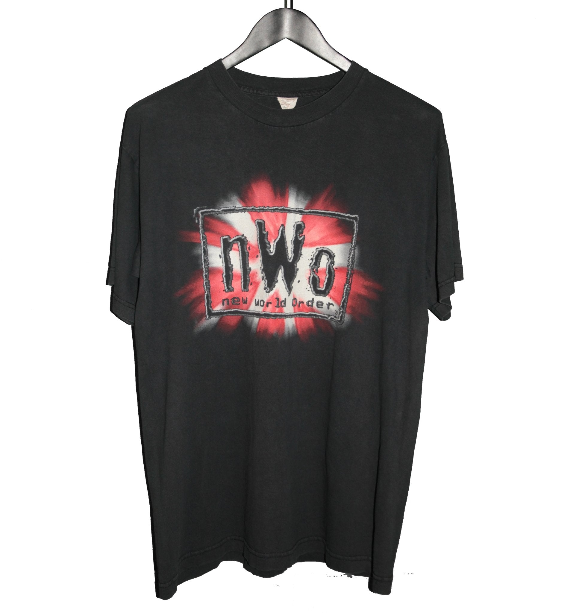 NWO 1998 Red & White Riddle Wrestling Shirt - Faded AU