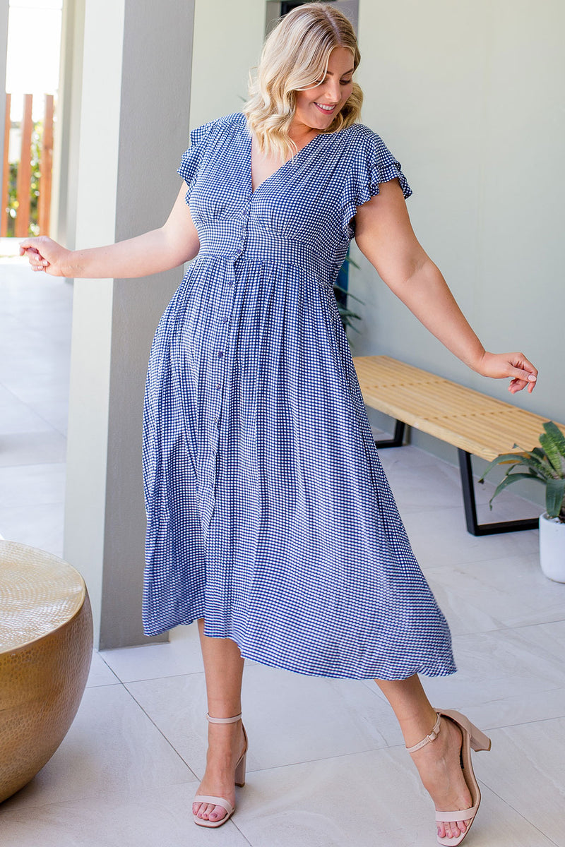 Melanie Dress Navy Check