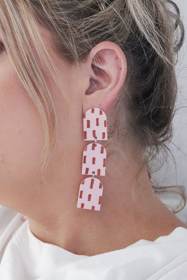 Bianca Earrings Pink / Terracotta