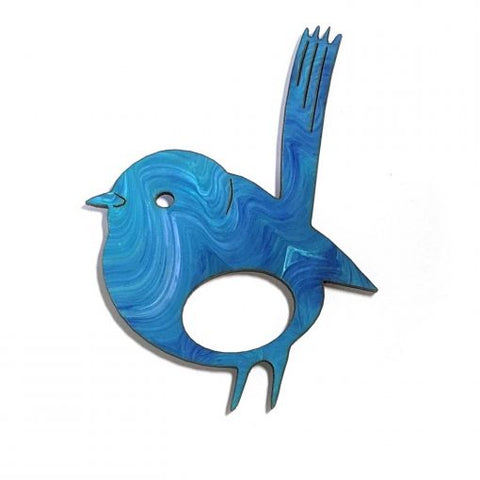 Glasses Brooch Blue Wren