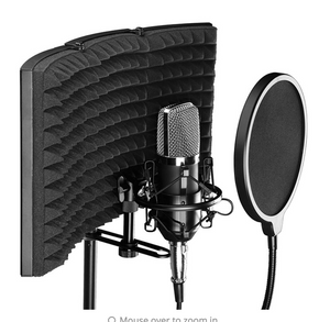 Foldable Microphone Acoustic Isolation Shield 26x21x7cm for Studio Live Broadcast