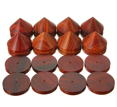 LEORY 8 Piece 23mm Rosewood Wooden Speaker Isolation Spike