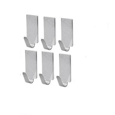 Adhesive Stainless Steel Hooks 6 piece