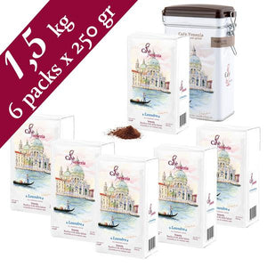 Cafè Venezia Leandro Ground Espresso Coffee - 6 Packs of 250 gram & 1 tin